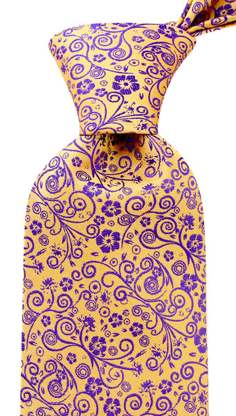 Goldenrod Yellow and Purple Floral Necktie