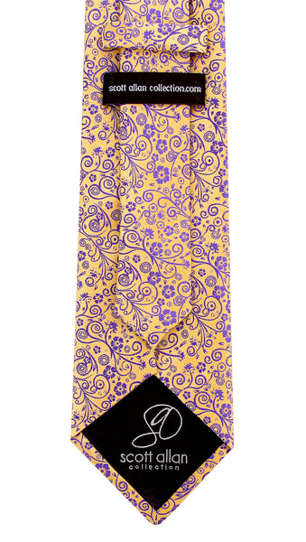 Goldenrod Yellow and Purple Floral Necktie - Scott Allan Collection