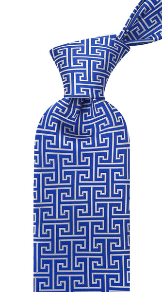 Blue Greek Key Necktie