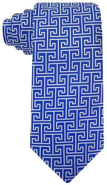 Blue Greek Key Necktie - Scott Allan Collection