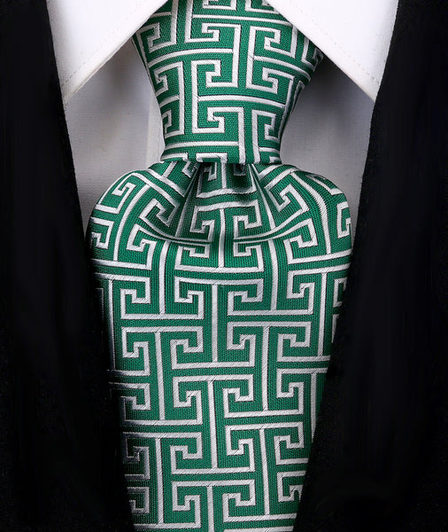 Green Greek Key Necktie - Scott Allan Collection