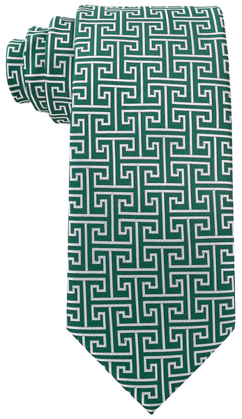 Green Greek Key Necktie