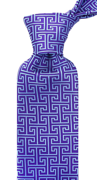 Purple Blue Greek Key Necktie