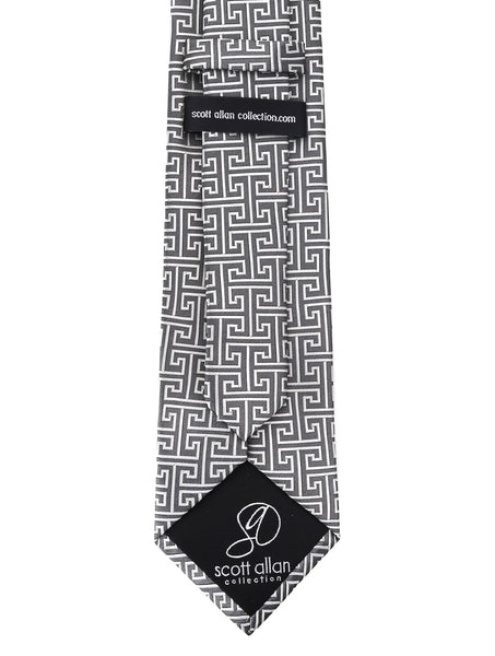 Gray Greek Key Necktie - Scott Allan Collection