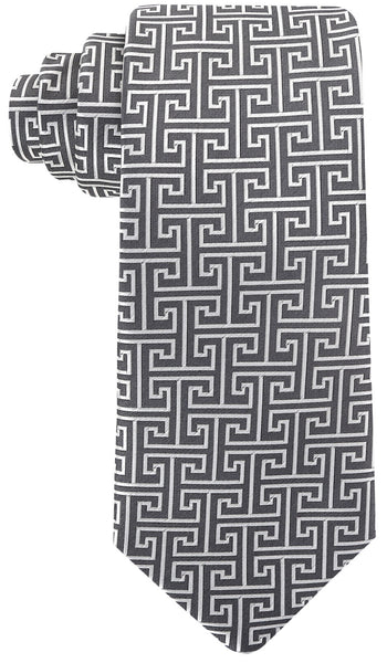 Gray Greek Key Necktie