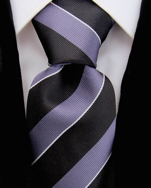 Black & Gray College Stripe Necktie - Scott Allan Collection