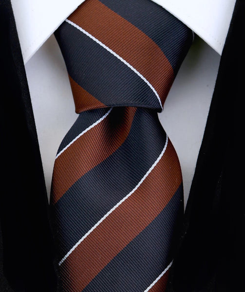Brown & Black College Stripe Necktie - Scott Allan Collection