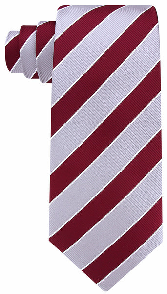 Burgundy Gray College Stripe Necktie
