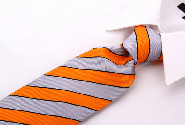 Orange Gray College Stripe Necktie - Scott Allan Collection