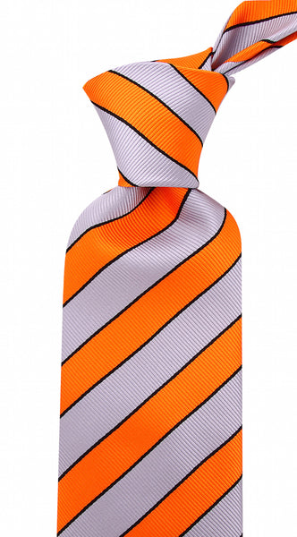 Orange Gray College Stripe Necktie