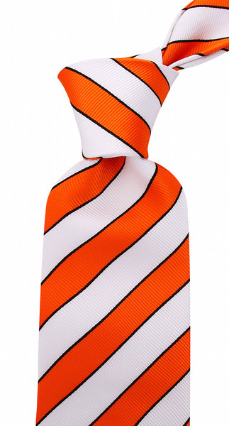 Orange White College Stripe Necktie