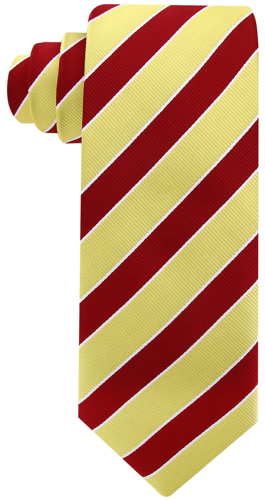 Gold Burgundy College Stripe Necktie - Scott Allan Collection