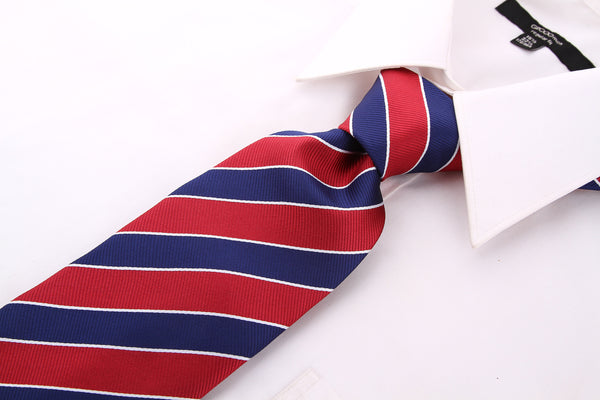 Burgundy Navy Blue College Stripe Necktie - Scott Allan Collection