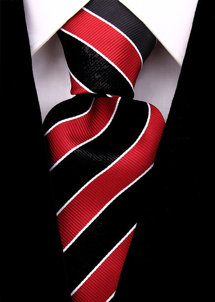 Burgundy Black College Stripe Necktie - Scott Allan Collection