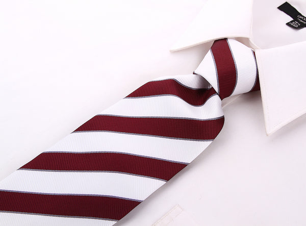 White Burgundy College Stripe Necktie - Scott Allan Collection