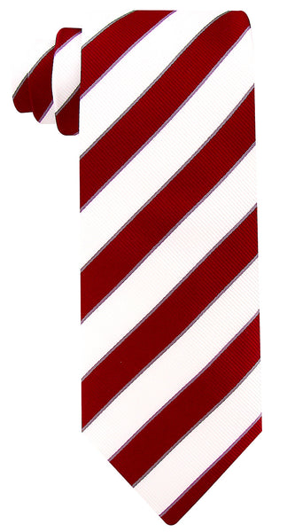 White Burgundy College Stripe Necktie