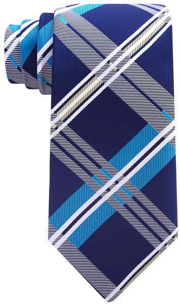 Navy Blue and Turquoise Plaid Necktie