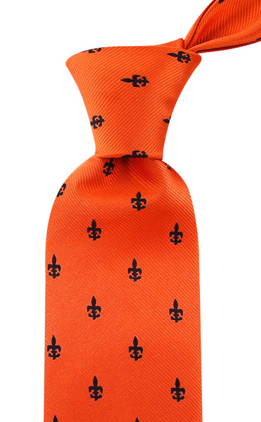Orange Fleur De Lis Necktie - Scott Allan Collection