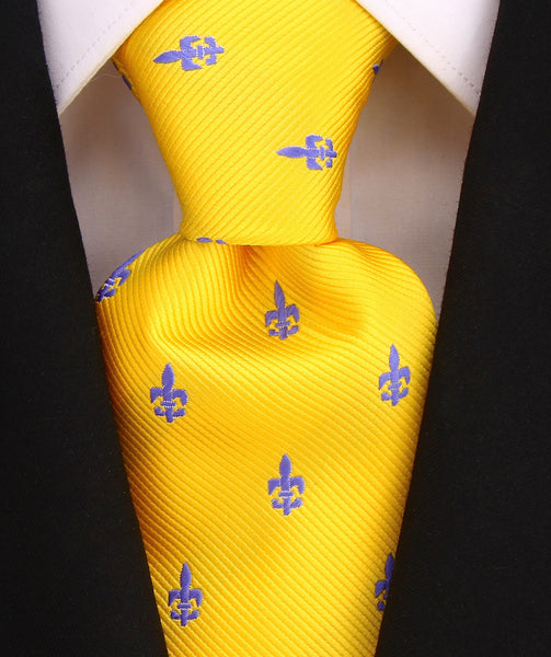 Yellow  - Fleur De Lis Necktie - Scott Allan Collection