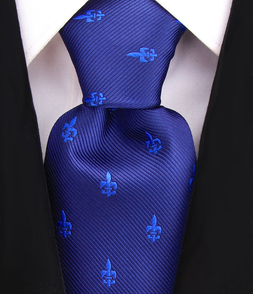 Blue Fleur De Lis Necktie - Scott Allan Collection