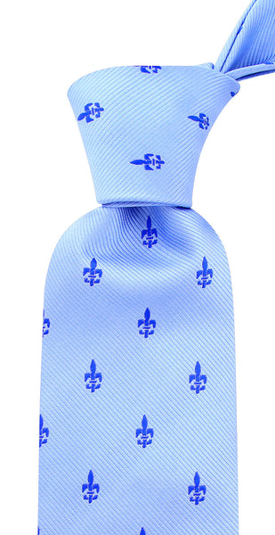 Light Blue - Fleur De Lis Necktie - Scott Allan Collection