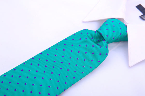 Green Polka Dot Necktie - Scott Allan Collection