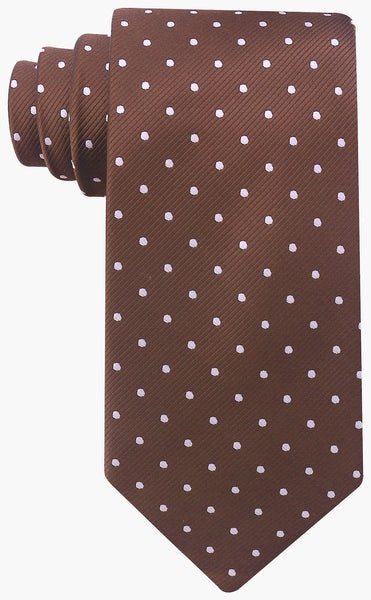 Brown with White Polka Dot Necktie