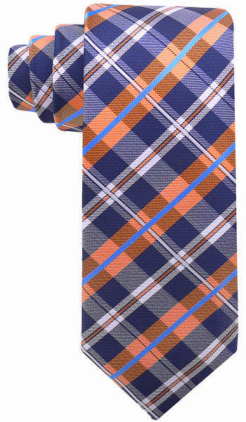 Navy Blue Orange Plaid Necktie