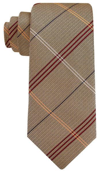 Dark Khaki and Red Striped Necktie