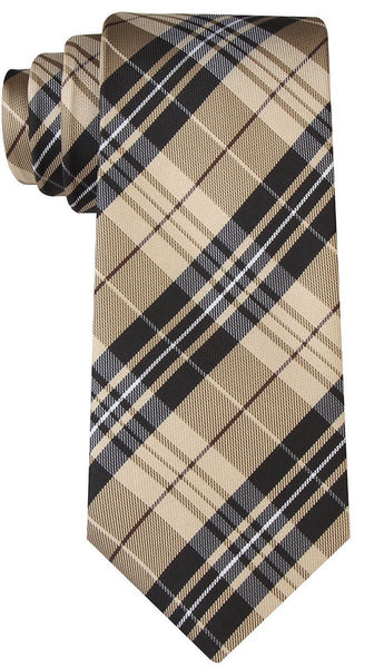 Black and Beige Tartan Plaid Necktie