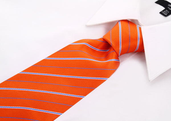 Orange and Blue Striped Necktie - Scott Allan Collection