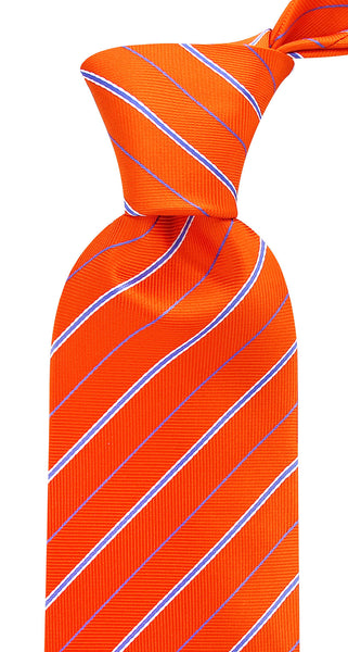 Orange and Blue Striped Necktie
