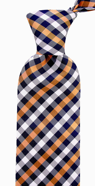 Beige Blue Gingham Plaid Necktie