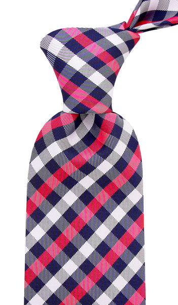 Pink Blue Gingham Plaid Necktie