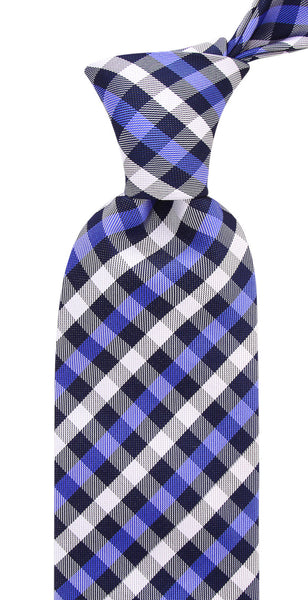 Royal & Navy Blue Gingham Plaid Necktie