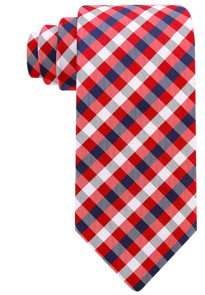 Red Gingham Plaid Necktie