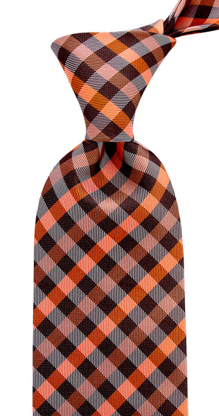 Burnt Orange Brown Gingham Plaid Necktie
