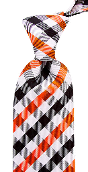 Orange Black Gingham Plaid Necktie