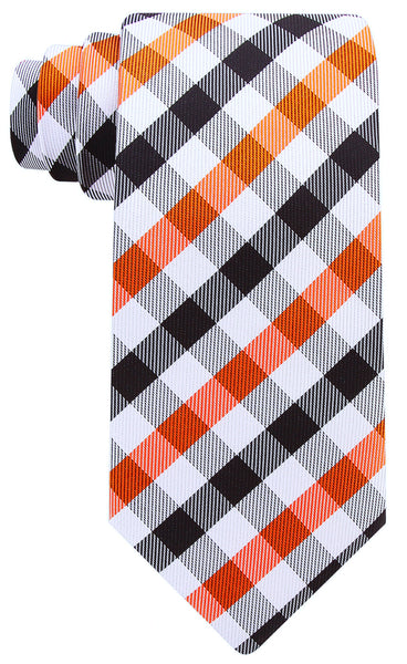 Orange Black Gingham Plaid Necktie - Scott Allan Collection