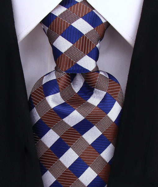 Brown & Blue Gingham Plaid Necktie - Scott Allan Collection