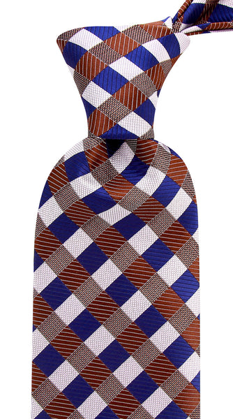 Brown & Blue Gingham Plaid Necktie