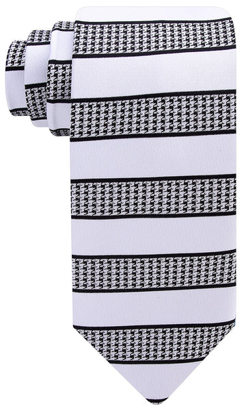 Hound's-tooth Striped Necktie - White and Black