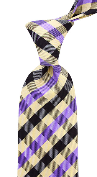 Purple Yellow Gingham Plaid Necktie