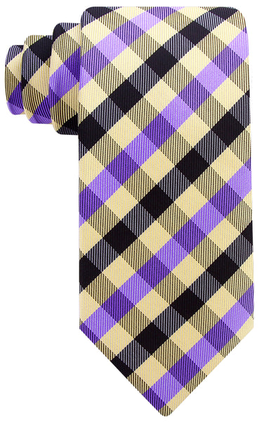 Purple Yellow Gingham Plaid Necktie - Scott Allan Collection