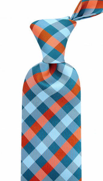 Turquoise Orange Gingham Plaid Necktie