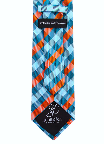 Turquoise Orange Gingham Plaid Necktie - Scott Allan Collection