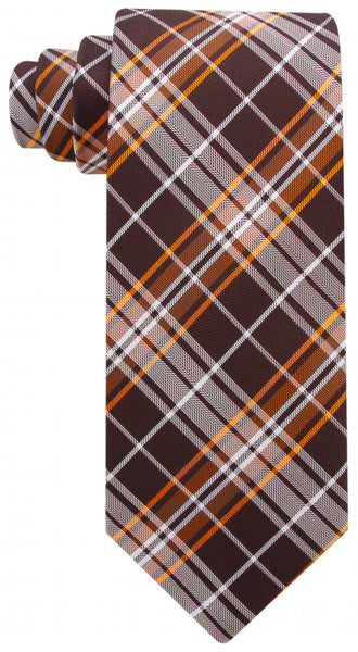 Brown & Orange Plaid Necktie