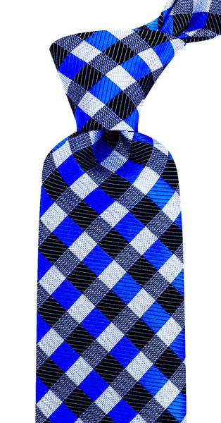 Royal Blue Black Gingham Plaid Necktie
