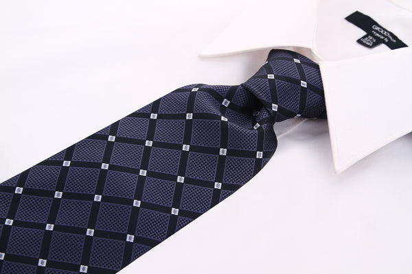 Black Charcoal Geometric Necktie - Scott Allan Collection
