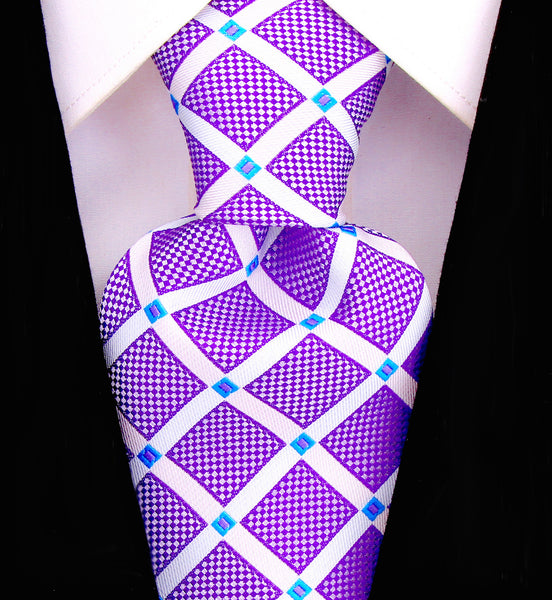 Purple Geometric Necktie - Scott Allan Collection